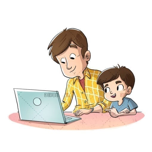 Father and son with computer