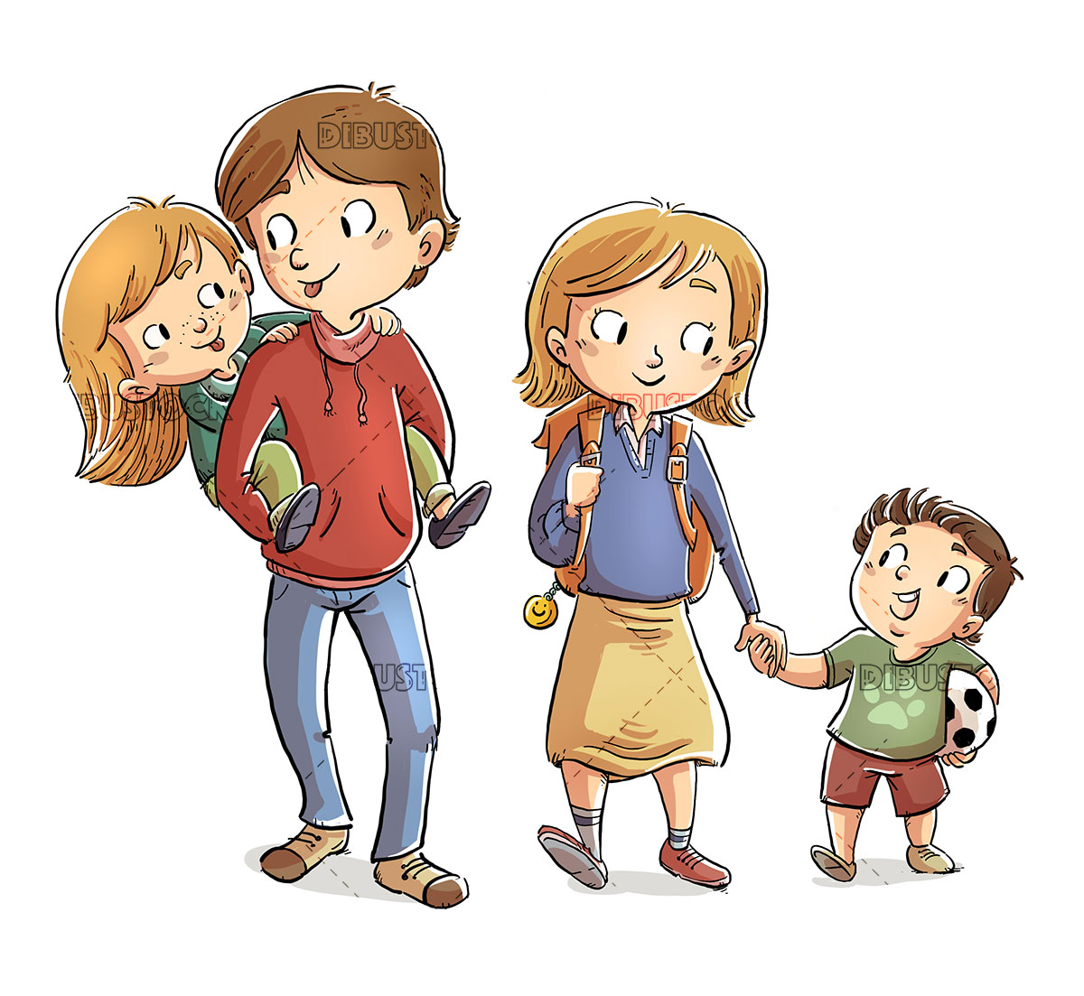 Four brothers walking to school