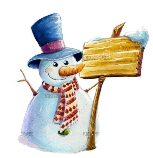 Funny snowman with watercolor poster