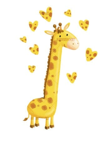 Giraffe surrounded by hearts