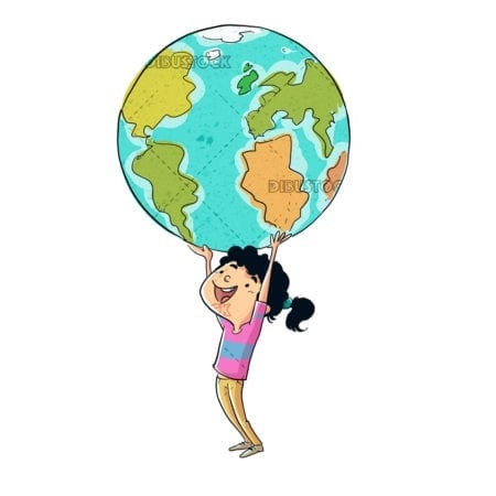 Girl catching the world with her hands