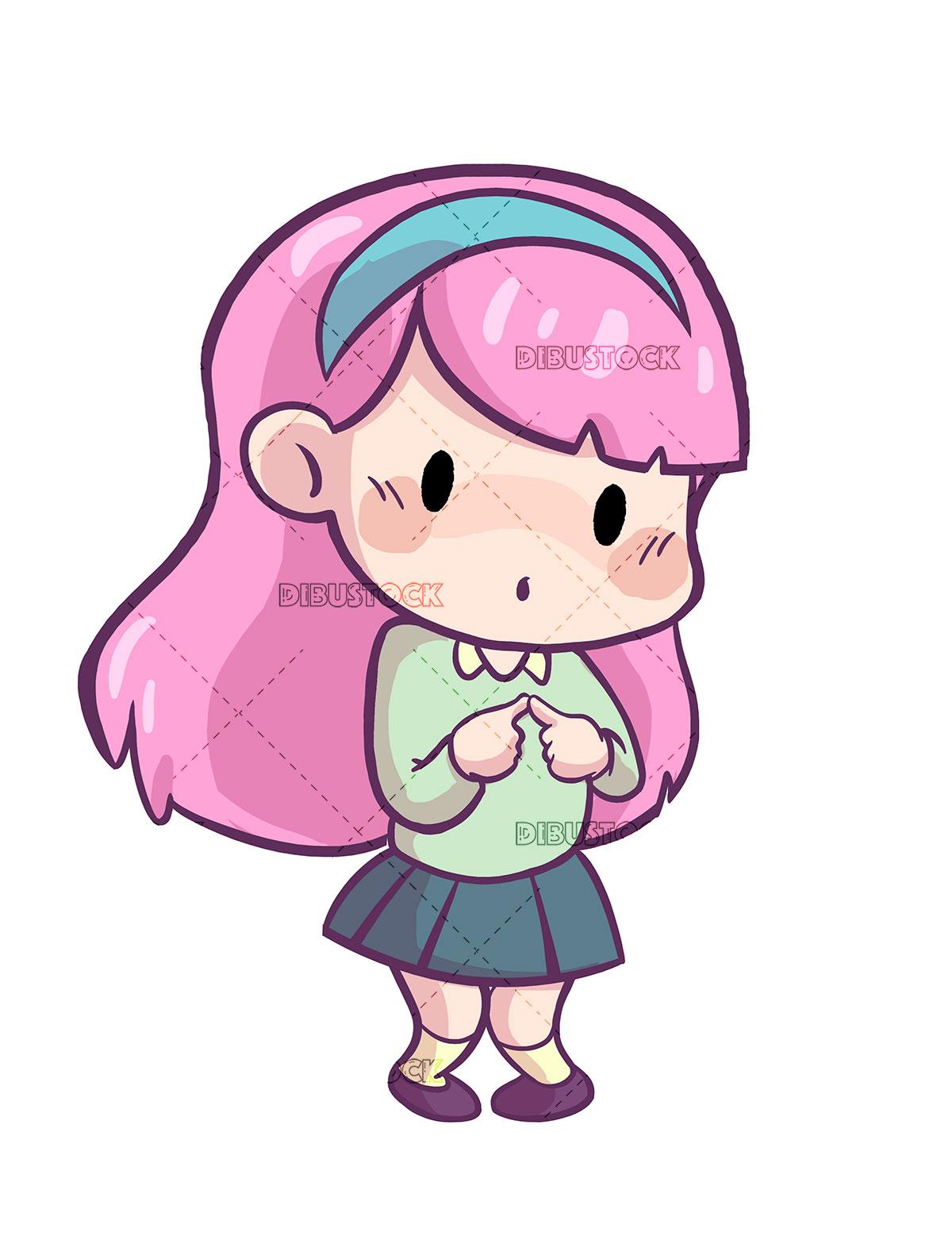 Girl in shy pose Kawaii