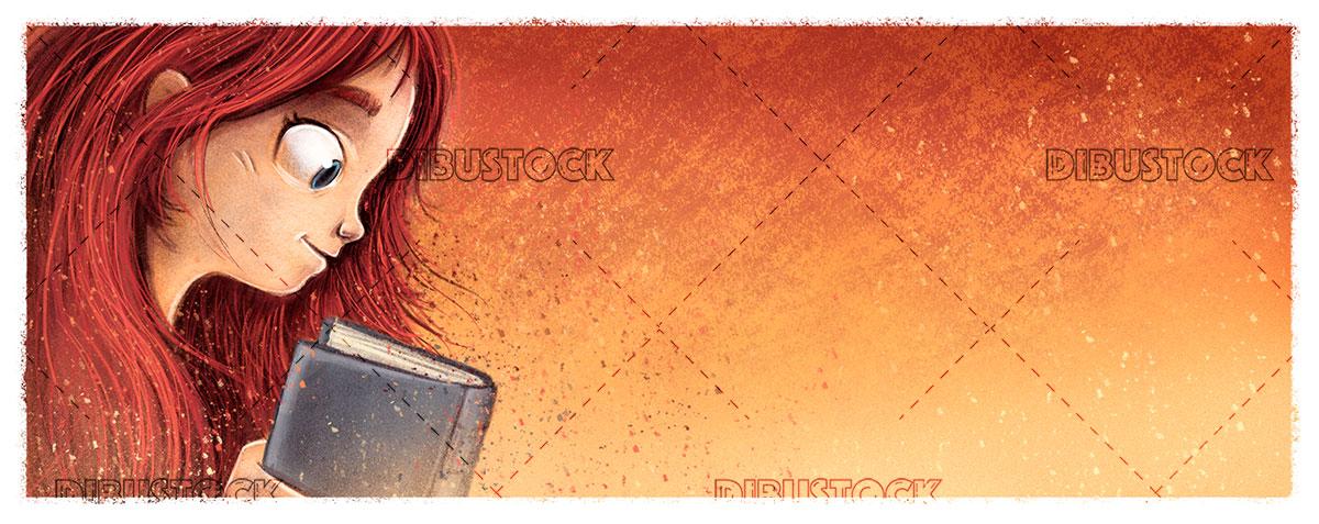 Girl reading a profile book