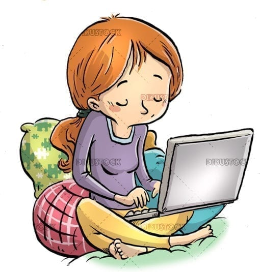 Girl sitting between cushions with laptop