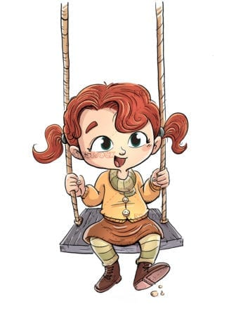 Girl sitting playing on a swing