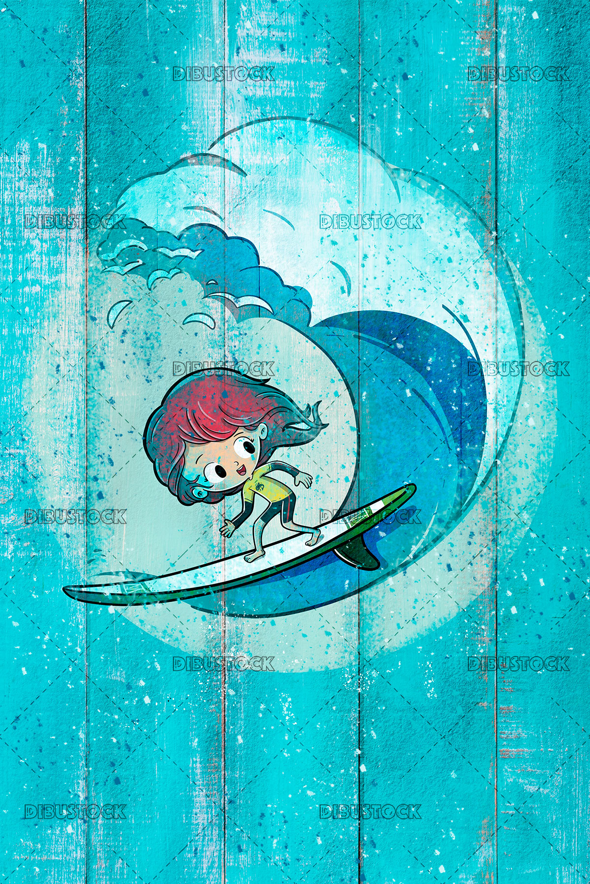 Girl surfing with waves