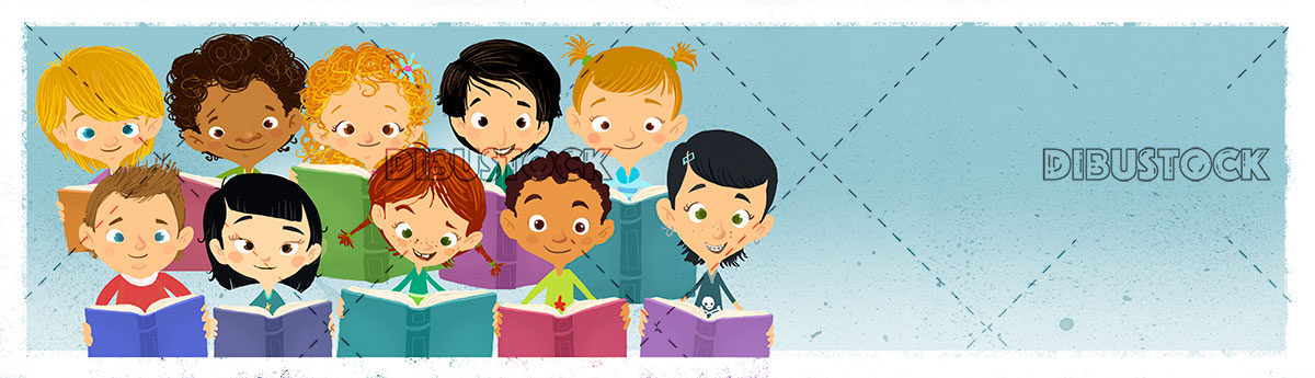 Group of children reading color books