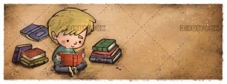 Happy boy sitting reading books