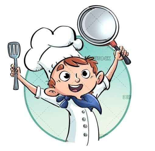 Happy cook with frying pan in hand
