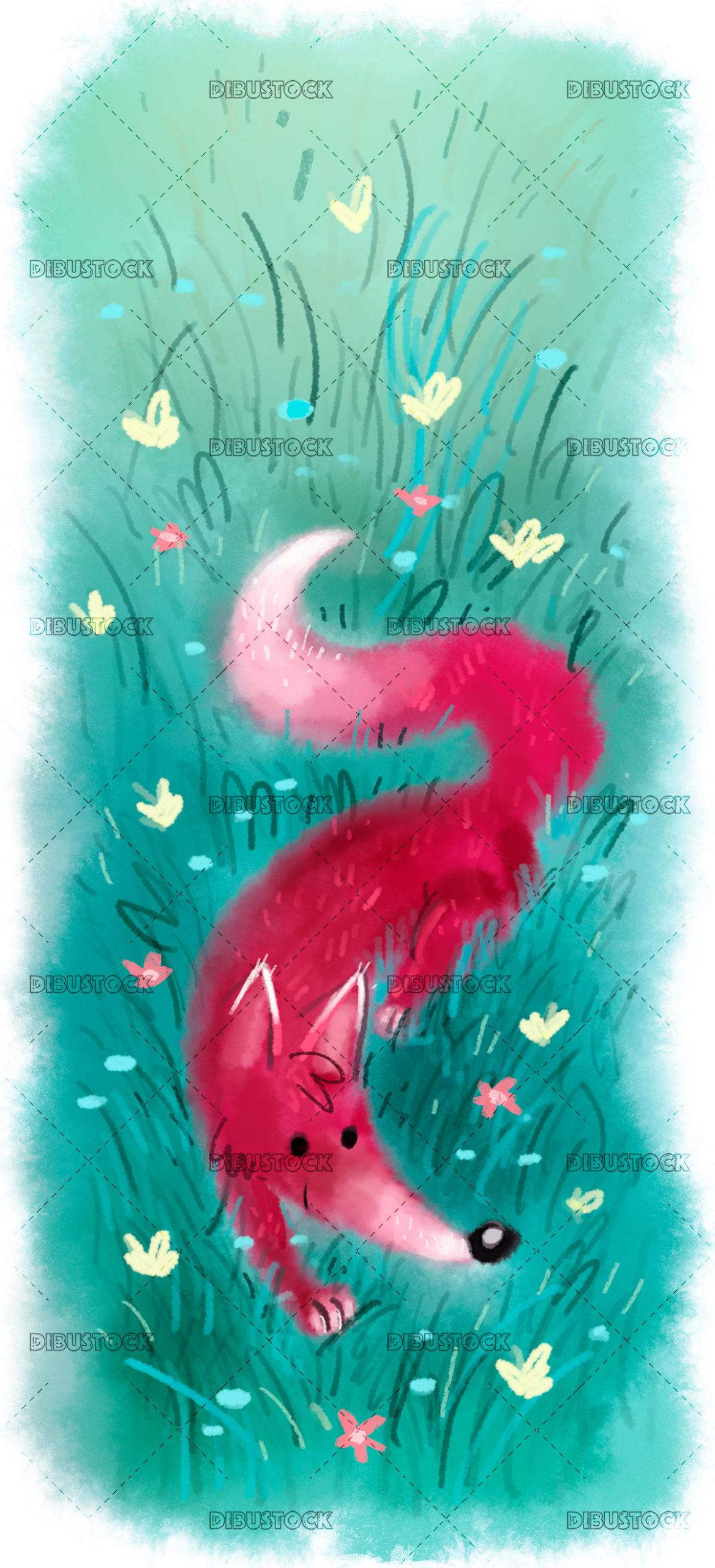 Happy fox walking in nature
