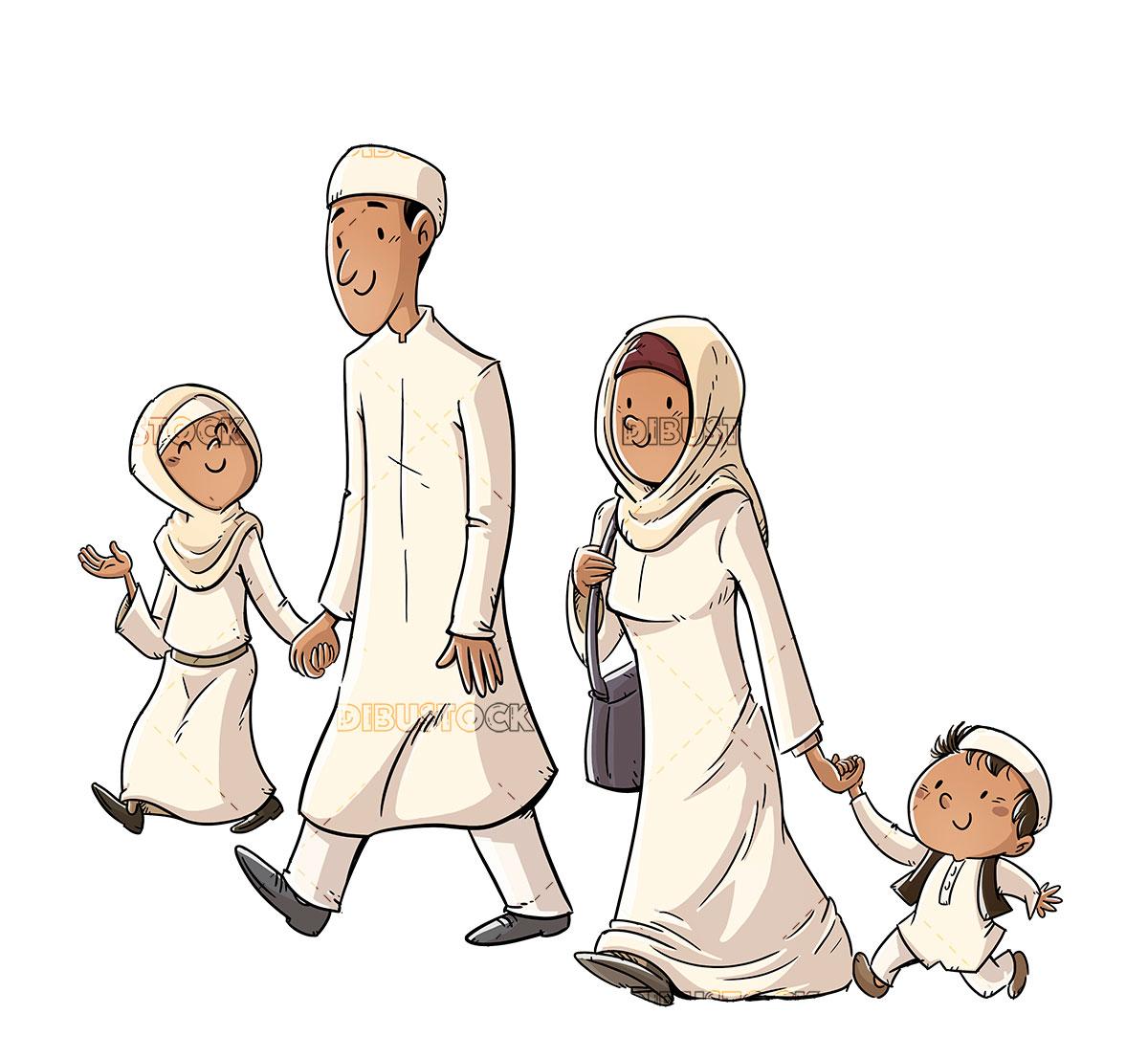 Happy traditional muslim family walking