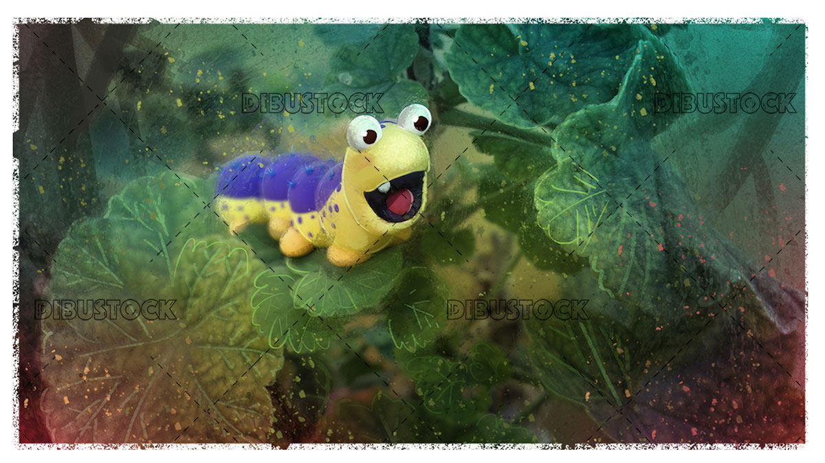 Happy worm in nature landscape