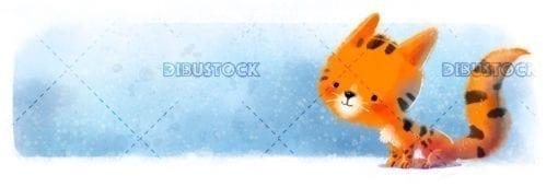 Illustration of happy orange cat