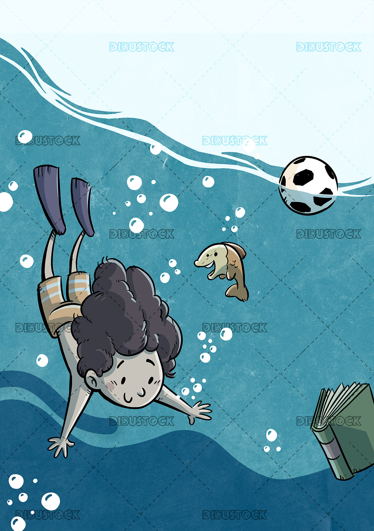Kid diving in the sea with fish