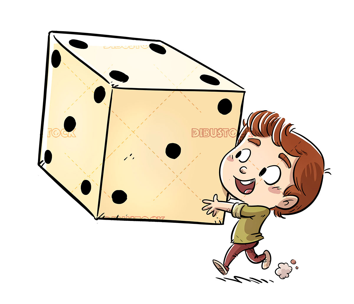 Kid playing with giant dice