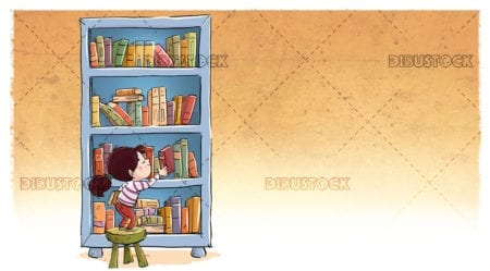 Kid taking a book from the bookshelf