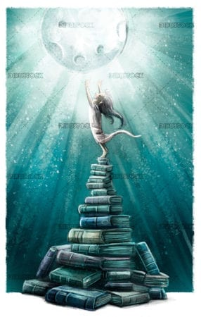 Kid touching the moon over books