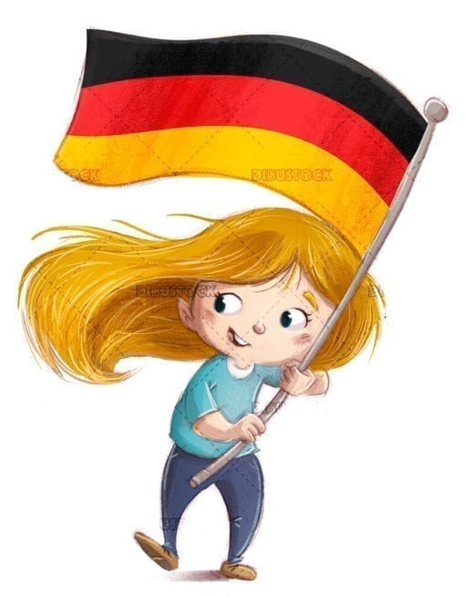 Kid waving a flag of germany