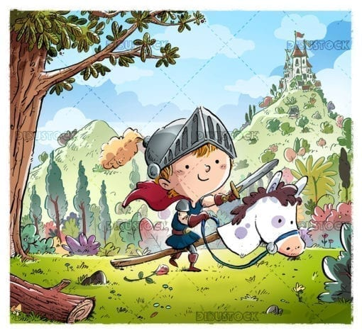 Knight boy with horse and castle