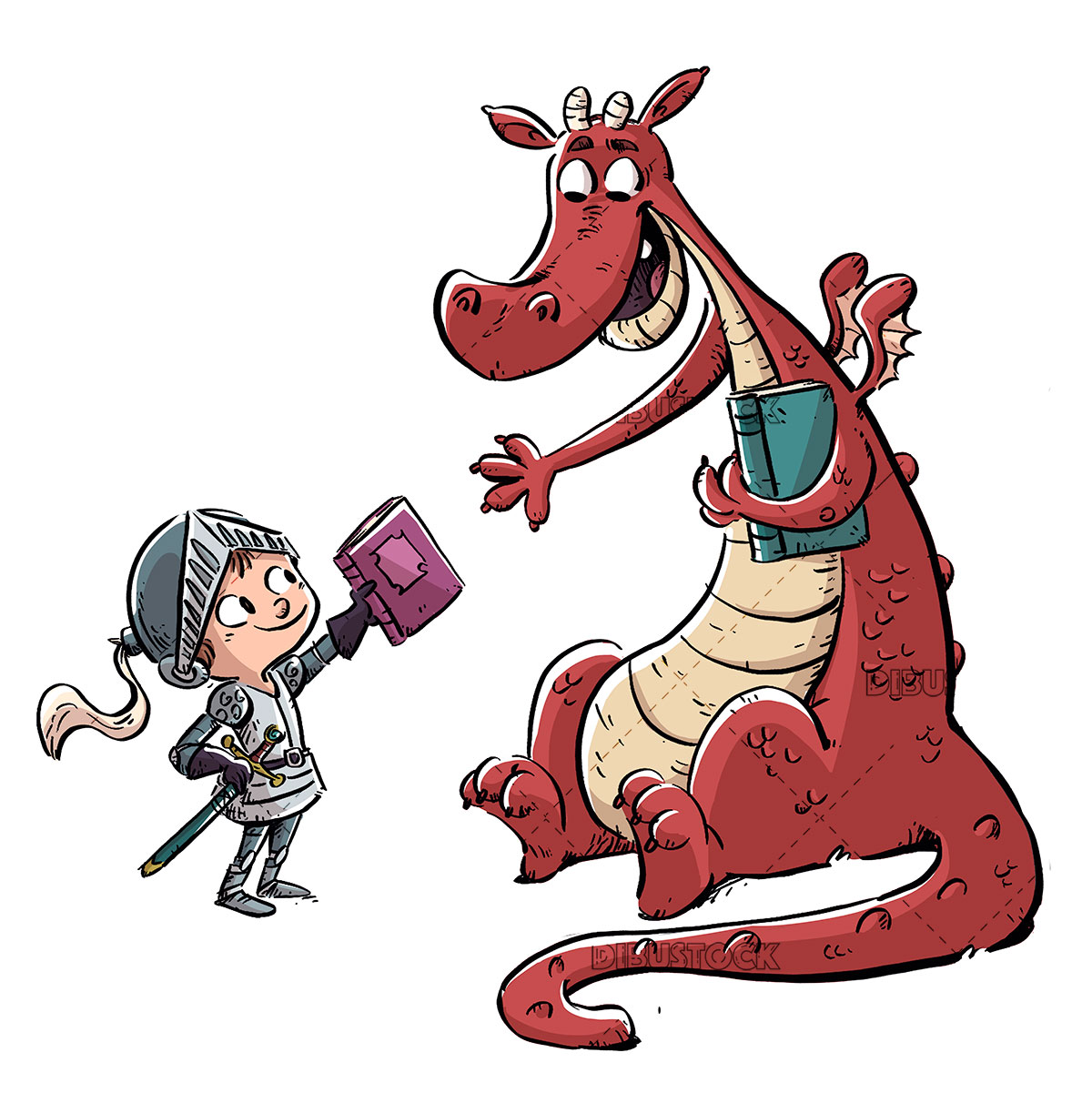 Knight handing a book to a dragon