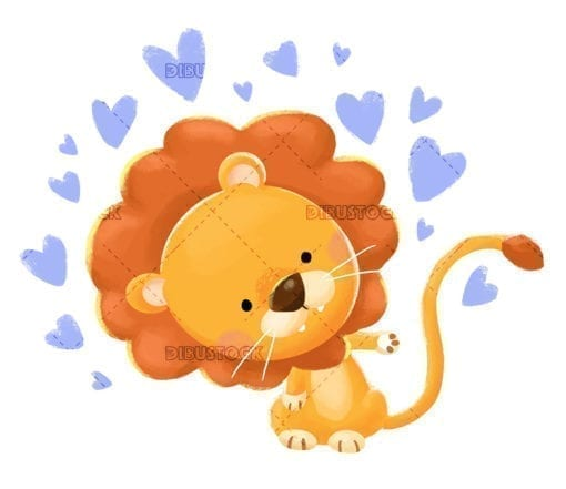 Lion surrounded by hearts