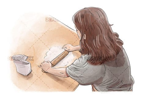 Little girl cooking and kneading rolling pin