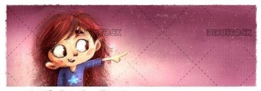 Little girl pointing the finger