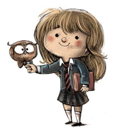 Little girl witch with owl and book20