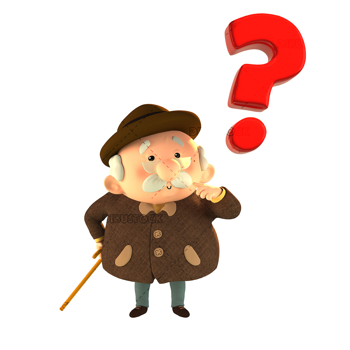 Memoryless grandfather with question mark