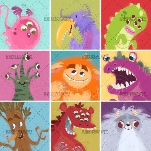 Monsters of different faces and colors