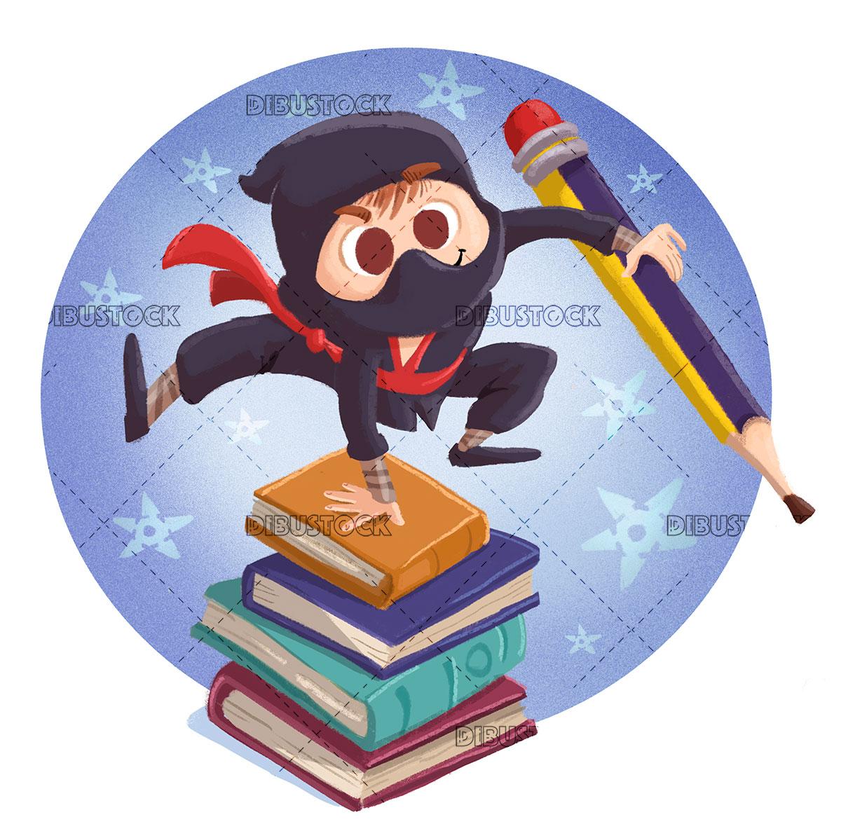 Ninja boy with pencil and books