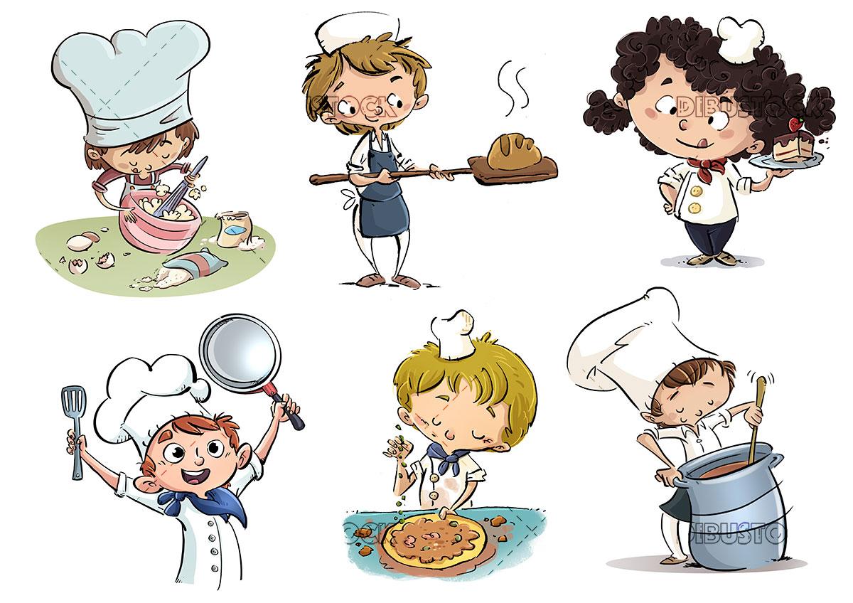 Ninos cocineros en diferentes poses
