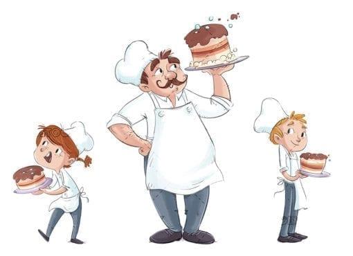 Ninos y hombre cocinero20
