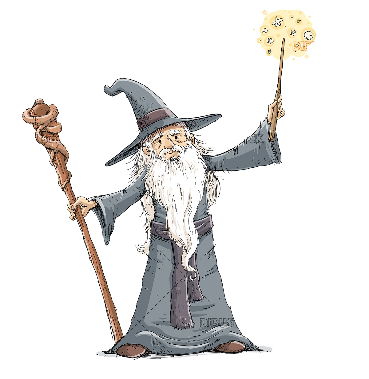 Old sorcerer doing magic with wand