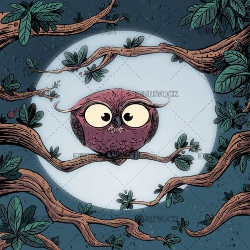 Owl on a branch at night with the moon