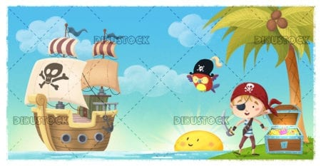 Pirate boy with ship on an island