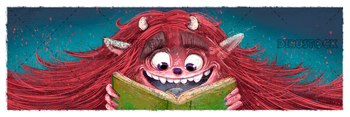 Red furry monster with book