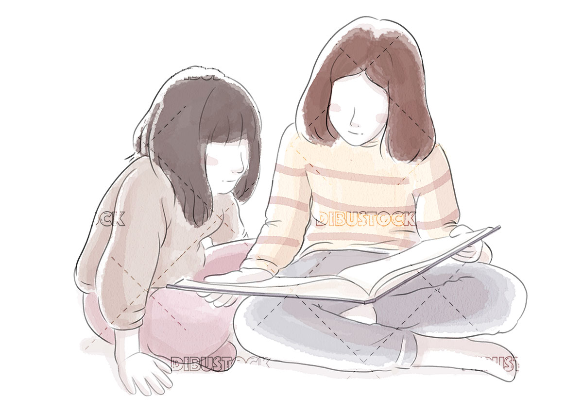 Sister girls reading a book together