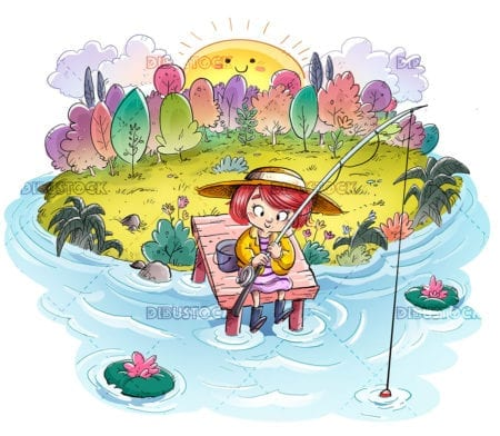 Small girl fishing in nature