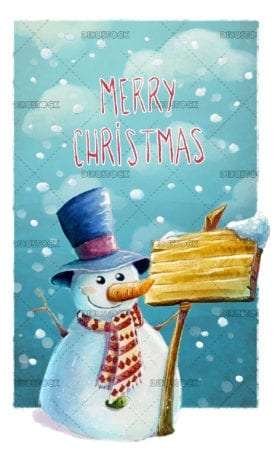 Snowman with poster and watercolor background