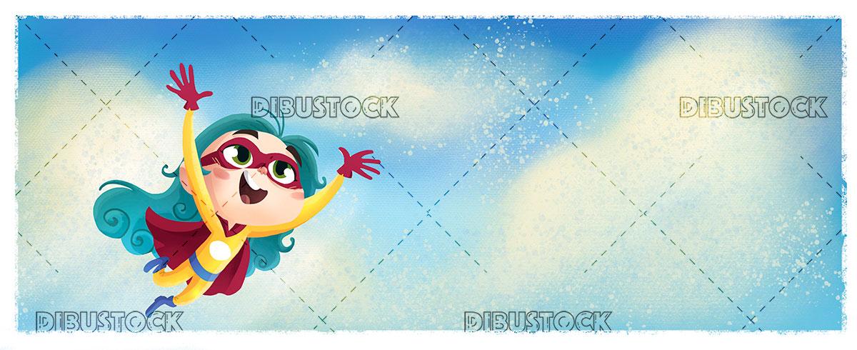 Superheroine little girl flying