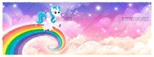 Unicorn pony flying on rainbow