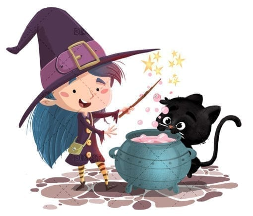 Witch girl with cat and cauldron