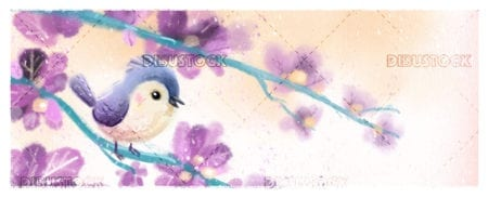 bird on branch surrounded by flowers
