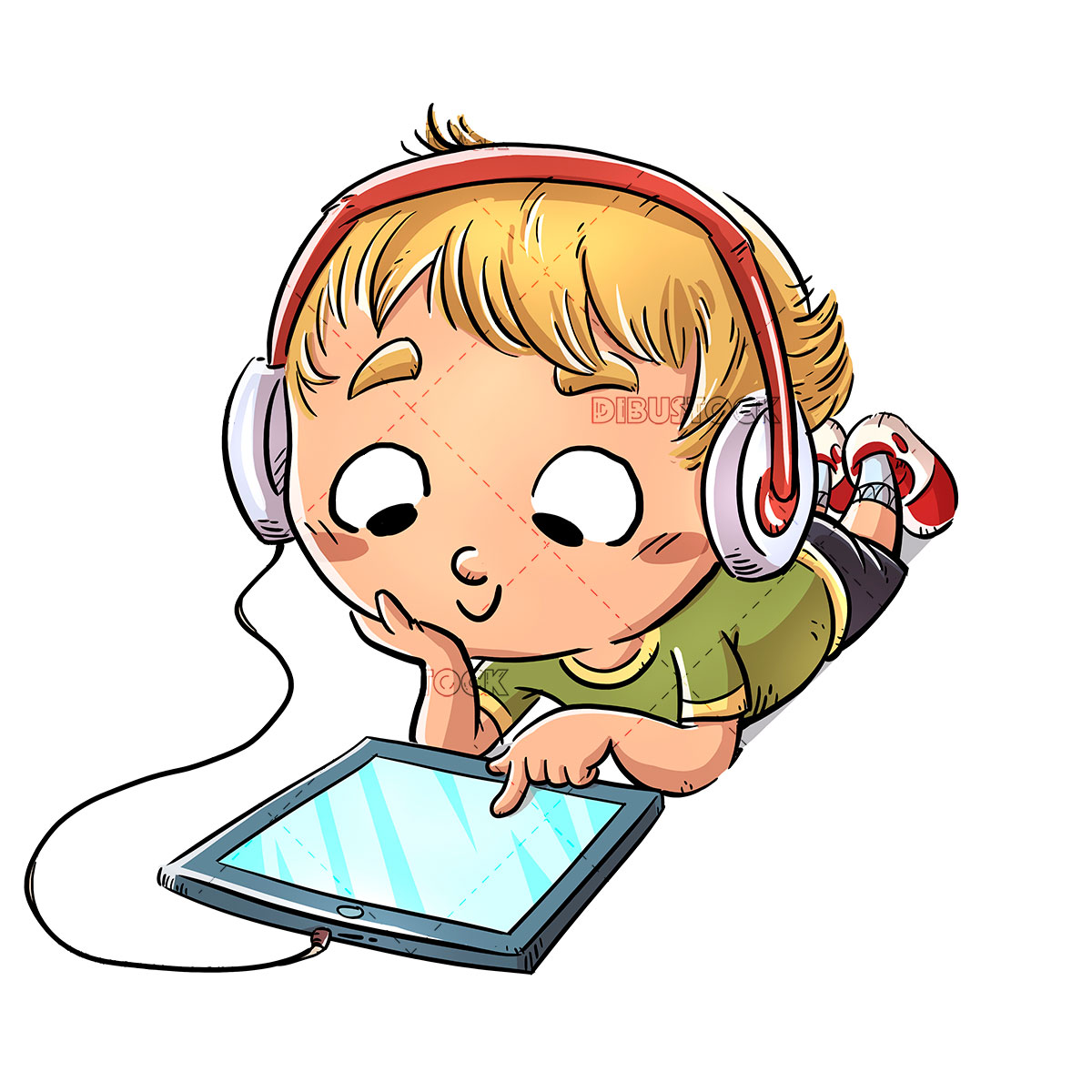 boy lying with headphones and tablet