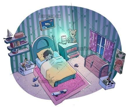 boy sleeping in his room
