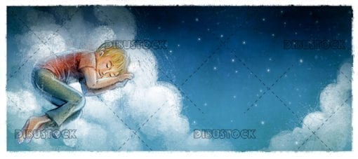 boy sleeping on the clouds