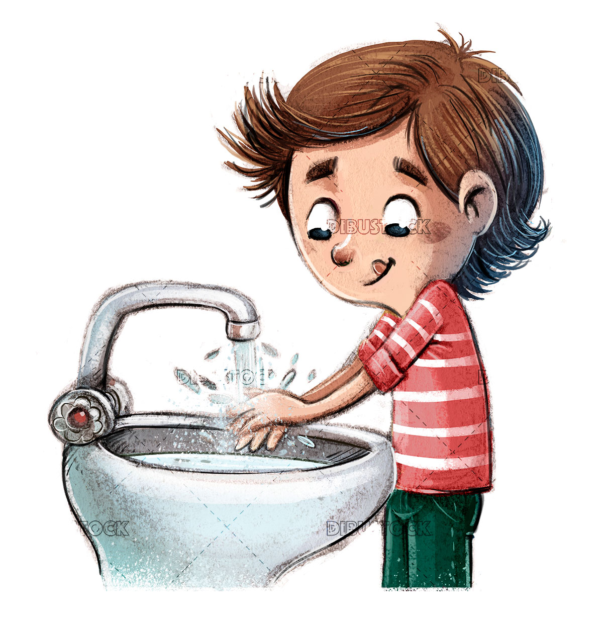 boy washing his hands under the tap