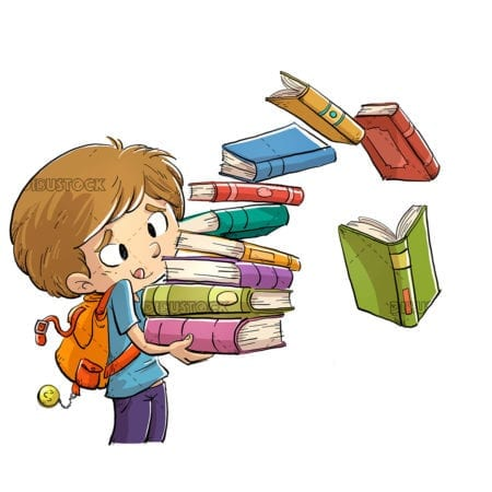 boy with a lot of books