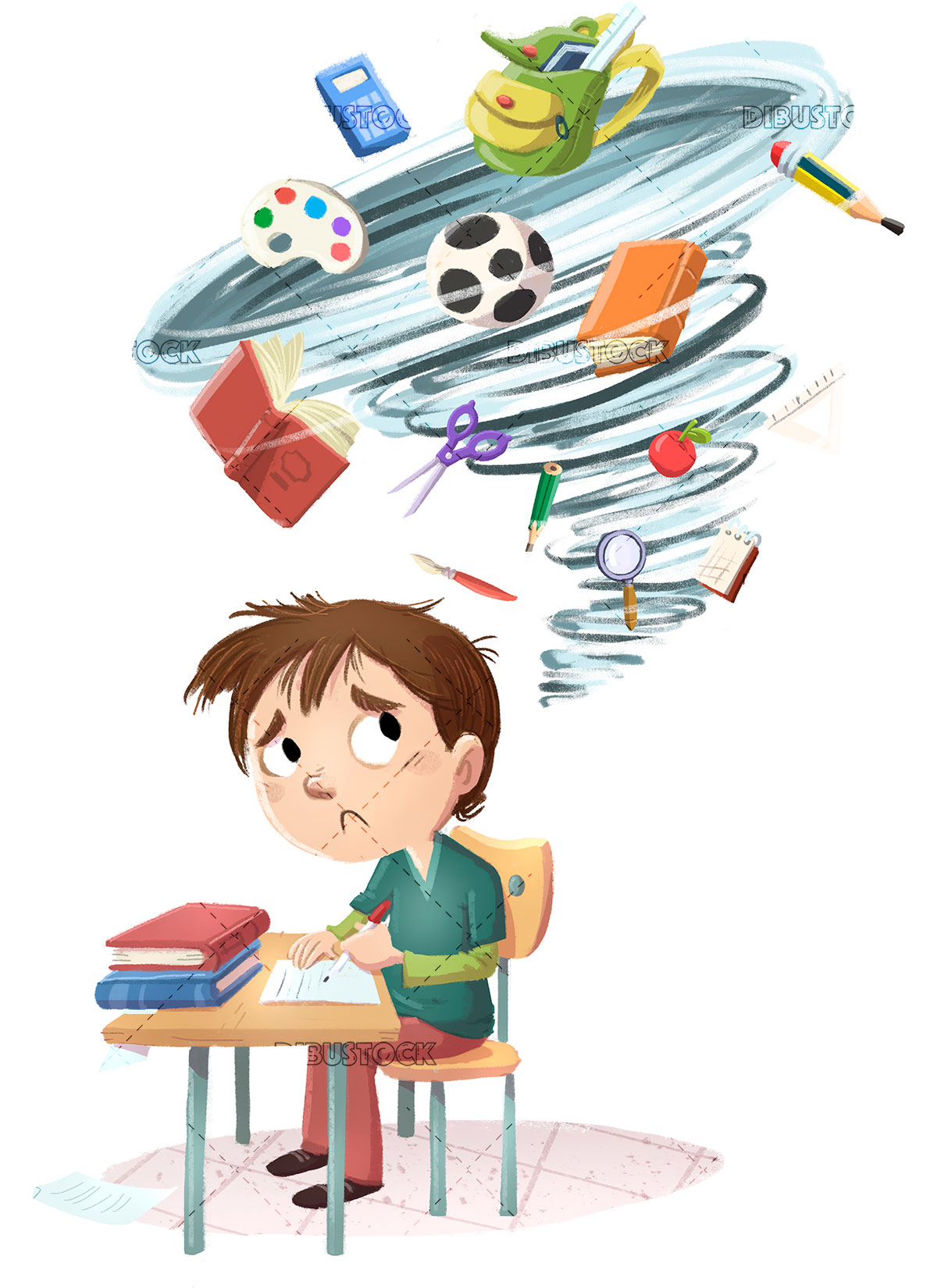 boy with a lot of school work